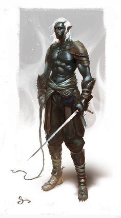 Dark Elf Slaver by Oliver Odmark Fantasy Races, Fantasy Warrior, Fantasy Rpg, Medieval Fantasy, Dark Fantasy, Warrior Angel, Fantasy Portraits, Character Portraits, Character Art