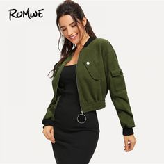 Army Green O-Ring Zip Up Flap Pocket Stand Collar Crop Button Jacket Autumn Casual Lady Women Coat Outerwear Army Green XS Blazers For Women, Coats For Women, Jackets For Women, Girls Coats, Black Jackets, Women's Jackets, Romwe, Windbreaker Outfit, Army Green Shorts