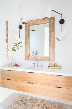 Master Bathroom Makeover DIY Ideas-Master Bathroom Makeover DIY Ideas: cabinets - Diy Crafts You & Home Design Bathroom Interior Design, Diy Bathroom Inspiration, Trendy Bathroom, Wood Bathroom Vanity, Brick Bathroom, Diy Bathroom Makeover, White Vanity Bathroom, Bathroom Decor, Master Bathroom Makeover