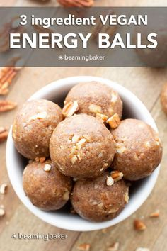 Vegan Energy Balls: just 3 ingredients for easy vegan energy balls that are soft, satisfying and delicious. Made with healthy, simple ingredients. #Vegan #EnergyBalls #NoBake #EnergyBites | Recipe at BeamingBaker.com Good Healthy Recipes, Delicious Vegan Recipes, Vegan Desserts, Snack Recipes, Tasty, Easy Snacks, Healthy Snacks, Vegan Energy Balls, Peanut Butter Energy Bites