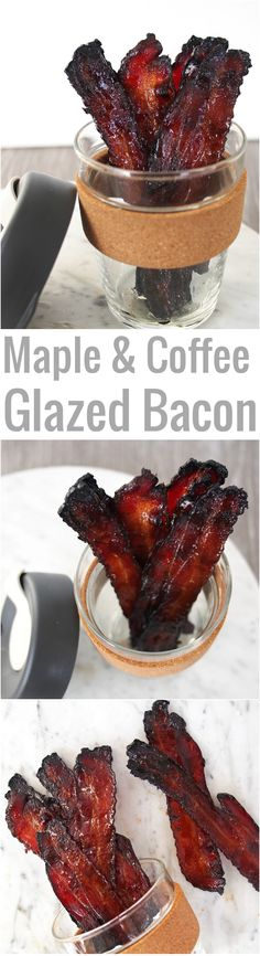 This Maple and Coffee Glazed Bacon is the perfect combination of smokey and sweet. Serve it with pancakes and butter, or sprinkle bits onto a vanilla-glazed donut! French Toast, Meat, Coffee, Breakfast, Food, Kaffee, Eten, Hoods, Meals