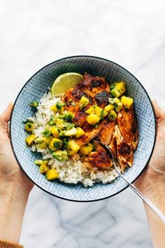 BBQ Salmon Bowls with Mango Avocado Salsa An easy and impressive dinner with yummy smoky-sweet flavor and a zip of zesty homemade salsa to take it over the top The BEST weeknight dinner salmon dinner seafood bbq # Salmon Recipes, Fish Recipes, Seafood Recipes, Seafood Bbq, Cooking Recipes, Healthy Recipes, Seafood Meals, Mango Avocado Salsa, Salmon With Mango Salsa