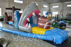 10M shark attack pirate ship water floating obstacle course for sale