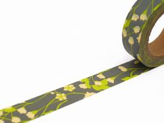 Grey Floral Washi Tape  Flower Masking Tape 10m x by UnwrapColour
