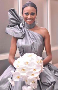 Cynthia Bailey in Rubin Singer Gunmetal Silver wedding dress w/White Orchid Bouquet... MY INSPIRATION FOR MY WEDDING!!! GORGEOUS