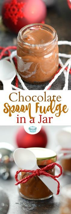 This Chocolate Spoon Fudge in a Jar is the perfect holiday gift, it comes with it's own spoon! It's rich and creamy, and sure to be loved by everyone. © 2017 COOKING WITH CURLS #holidaytreat #gift #chocolate #fudge #spoonfudge #giftinajar