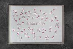 Hallo Welt! – Geburtsanzeige für Florentina. Letterpress, Frame, Business Cards, Invitations, World, Picture Frame, Letterpress Printing, Letterpresses, Frames