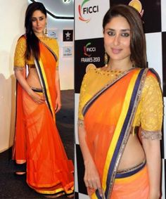 A simple georgette saree can look very stylish with a high-neck blouse in net. - bollywoodshaadis.com