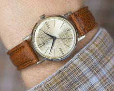 Checked men's wristwatch ZIM minimalist beige watch by SovietEra, $83.00