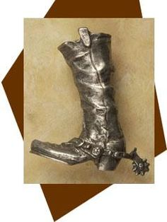 Anne at Home Fancy Western Cowboy Boots with Spurs Cabinet Knob/Right