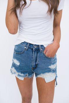 Destroyed Denim Cut Off Shorts - Dottie Couture Boutique