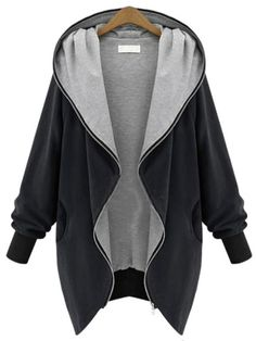 Black BetterMore Women's Fashion Winter Warm Plus Size Loose Hoodie Cardigan Blazer Parka Zip Jacket Outerwear Long Hooded Coat, Hooded Jacket, Hooded Coats, Hooded Cardigan, Hooded Parka, Women's Coats, Long Parka, Trench Coats, Cardigan Blazer