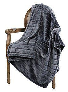 "Amazon.com: Bertte Ultra Velvet Plush Super Soft Decorative Stripe Throw Blanket-50""x 60"", Dark Grey: Home & Kitchen"