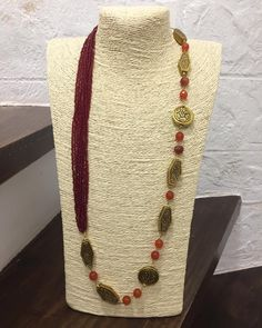 Necklace to go with your Indian as well as Western outfits #fashion #accessories #jewellery #necklace #beads #crystalbeads #jade #brassbeads