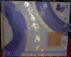 papillon or et mauve 40x50cm via PayFacile