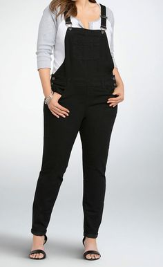 Torrid Overall Jean - Black Wash (Regular) Black Overalls Outfit, Black Loafers Outfit, Denim Overalls, Dungarees, Overalls Fashion, Denim Romper, Shorts, Overalls Plus Size, Plus Size Jeans