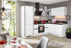 Eckküche Win, in Weiß matt online kaufen ➤ mömax Table, Furniture, Home Decor, Exhaust Hood, Engineered Wood, Interior Design, Home Interior Design, Desk, Tabletop