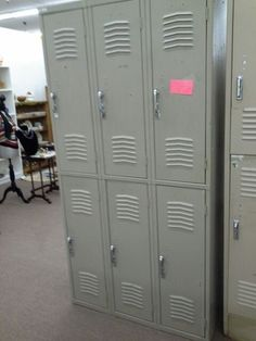 $295 - This is a set of heavy duty industrial metal lockers. It consists of a total of 6 lockers all open and close smoothly and can be locked with a padlock. **** In Booth D11 at Main Street Antique Mall 7260 E Main St (east of Power RD on MAIN STREET) Mesa Az 85207 **** Open 7 days a week 10:00AM-5:30PM **** Call for more information 480 924 1122 **** We Accept cash, debit, VISA, Mastercard, Discover or American