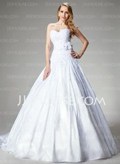 Ball-Gown Sweetheart Chapel Train Taffeta Wedding Dress With Lace Beadwork Flower(s) (002000680)