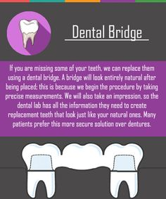 If you are missing teeth, a dental bridge might be a good option for you. If you are missing teeth, a dental bridge might be a good option for you. Dental Quotes, Dental Facts, Dental Bridge Cost, Dental Bonding, Dental Posters, Sedation Dentistry, Dental Implants, Dental Surgery, Dental Hygienist