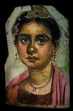*EGYPT ~ During the 1st-3rd century AD, painted panel portraits more commonly reffered to as the Fayoum portraits (also written Fayum) were sometimes placed over the heads of mummies.