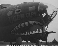 """The nose art on the Boeing Flying Fortress """"Tiger Girl"""" of the Air Force, Bomb Group, Bomb Squadron Ww2 Aircraft, Military Aircraft, Luftwaffe, Tiger Girl, Aircraft Painting, Airplane Art, Ww2 Planes, Nose Art, Military Art"""