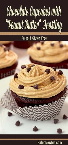 Scrumptious chocolate cupcakes with a light frosting that tastes like peanut butter! No refined sugars or wheat. Chocolate chip sprinkles optional.
