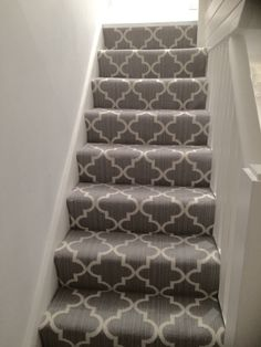 New stair carpet - Axminster Royal Wilton collection Windsor Trellis mid steel grey geometric contemporary stairs runner. Carpet Staircase, Basement Carpet, Hall Carpet, Basement Stairs, Carpet For Stairs, Patterned Stair Carpet, Textured Carpet, Tartan Stair Carpet, Wood