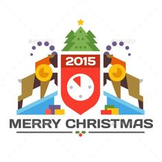 2015 Year of the goat. Christmas card. ?oat of arms in geometric style. Vector flat illustrations