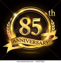 85th golden anniversary logo with ring and ribbon, laurel wreath vector design. - stock vector