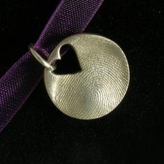 Heart cutout Fingerprint Jewellery Charm