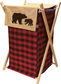 Trend Lab's Northwoods Crib Bedding will turn your little one's room into a cozy cabin, with its mix of moose and bear prints, buffalo checks, and woodsy colors. This Hamper pairs a sweet mama and baby bear applique with a buffalo check body. Baby Boy Rooms, Baby Boy Nurseries, Kids Rooms, Boy Nursey, Baby Cribs, Rustic Cabin Decor, Lodge Decor, Rustic Farmhouse, Up House