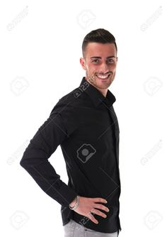 Smiling Young Man In Black Shirt, Looking At Camera, Isolated.. Stock Photo, Picture And Royalty Free Image. Image 29643995.