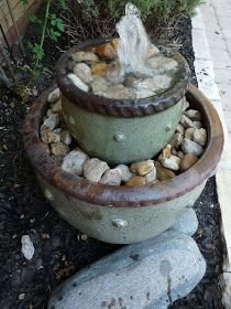 The Happy Homebodies: *DIY Flower Pot Fountain*. Super excited! I have some cute pots for this and it will be nice on the deck!