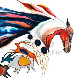 Native American War Horse Bear Elk Art Painting by JillClaireArt, $32.00