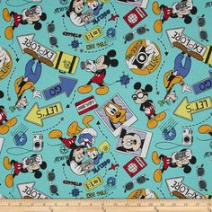 Disney Mickey Say Cheese Let's Go Explore Multi from @fabricdotcom  Designed by Disney and licensed to Springs Creative Group, this cotton print is perfect for quilting, apparel and home decor accents. This is a licensed fabric and not for commercial use.
