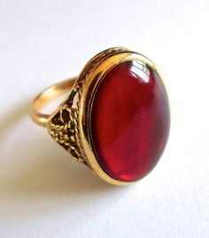 Red Glass Oval Ring Gold Tone Adjustable by RenaissanceFair