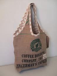 Coffee bag Burlap Coffee Bags, Burlap Bags, Coffee Bean Sacks, Bag Patterns To Sew, Sewing Patterns, Rice Bags, Feed Bags, Sack Bag, Denim Bag