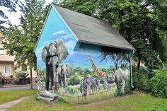 Art-EFX-Trafostation mit Serengeti-Motiv, #artefx, #murals, #muralpainting, #streetart, #graffitiauftrag, #substation, #illusionsmalerei, #serengeti, #elephant, #kleinmachnow