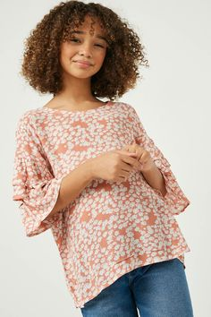 """Product Details:Our Tiered Sleeve Top Features: Floral Printed Fabric Tiered Sleeves Back Keyhole Closure Measurements: Size Length Chest Small 19.5"""" 15.5"""" Medium 20.5"""" 16.5"""" Large 22"""" 17.5"""" X-Large 24"""" 18.5"""" Material & Care: 100% Rayon Hand Wash Cold Hang Dry Floral Sleeve, Flutter Sleeve Top, Gauze Fabric, Stripe Print, Printing On Fabric, Floral Tops, Clothing Ideas, Sleeves, Nursery"""
