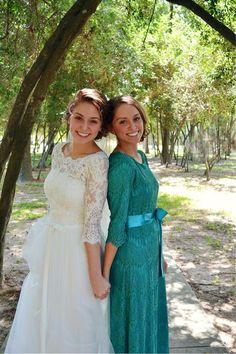 Modest Bridesmaid Dressings / Weddings / Night in Paris Dress in Teal / Ruffles, Lace, Customizable Bridesmaid Dresses