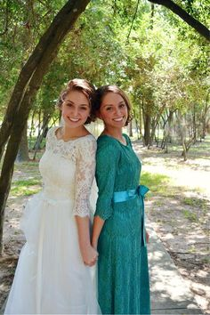 Modest Bridesmaid Dressings / Weddings / Night in Paris Dress in Teal / Ruffles, Lace, Customizable Bridesmaid Dresses