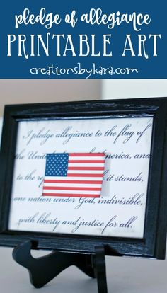 July Fourth Home Decor Idea - This printable USA flag with Pledge of Allegiance makes for quick and easy of July decor! 4th Of July Games, Fourth Of July Decor, 4th Of July Decorations, 4th Of July Party, July 4th, Free Printables For Home, Printable Art, Pledge Of Allegiance, Allegiant