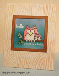 Another baby card using Hero Arts Lil Hoot stamp set.