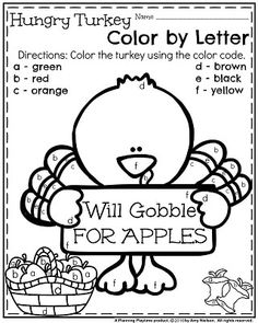 Top Ten Everyday Living Insurance Plan Misconceptions November Preschool Worksheets - Hungry Turkey Color By Letter. Thanksgiving Worksheets, Thanksgiving Preschool, Fall Preschool, Preschool Literacy, Preschool Printables, Preschool Lessons, Preschool Worksheets, Kindergarten Classroom, Kindergarten Activities