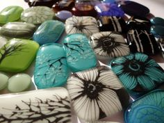 my latest, hand-painted creations in fused glass