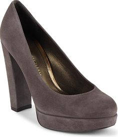 """Stuart Weitzman Women's Shoes in Charcoal Color. A bold heel lifts these elegant suede pumps. Self-covered heel, 4.5"""".Platform height, 1"""".Compares to a 3.5"""" heel. Suede upper. Round toe. Slip-on style. Leather lining and sole. Made in Spain."""