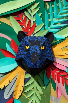 Mlle Hipolyte, a French designer, imagined a paper fresco in relief called Tropical Jungle. Like a canvas, this mural installation measuring 2 meters on me 3d Paper Art, Paper Crafts, Paper Cutting, Cut Paper, Paper Installation, Animal Masks, Origami Paper, Art Plastique, Paper Design