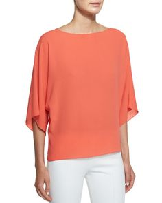 B32YE Michael Kors Collection 3/4-Sleeve Bateau-Neck Top, Persimmon