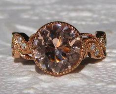 Morganite IVY Rose Gold Floral Filigree Milgrain Bezel Diamond Engagement Ring, by JuliaBJewelry on Etsy